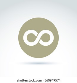 Vector infinity icon isolated on white background, illustration of an eternity symbol placed in circle.