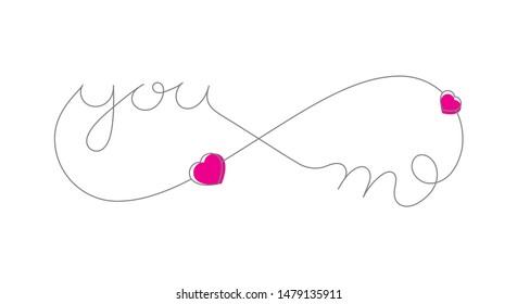 Vector infinity love tattoo symbol with text YOU ME and hearts. Isolated on white background.