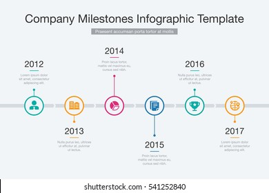 Vector Info graphic Company Milestones Time line Template.