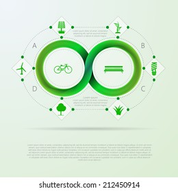 Vector info graphic for ecology with Mobius stripe. Green infinity sign with ecology silhouette signs around. Vector infographic with Mobius ribbon and place for your text.