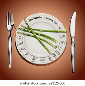 Vector info graphic of nutrition facts of asparagus