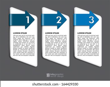 vector info graphic tabs - steps 1 2 3