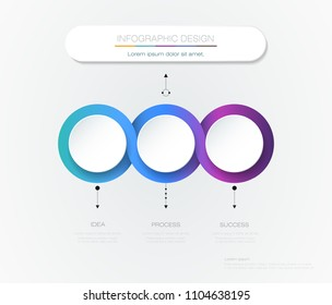 Vector Infographic 3d circle label template design. Infograph with 3 number options or steps. Infographic element for layout, process diagram, parts, chart, graphic, info graph, flowchart, presentation