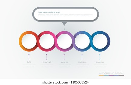 Vector Infographic 3d circle label template design.Infograph with 5 number options or steps. Infographic element for layout, process diagram, parts, chart, graphic, info graph, flowchart, presentation