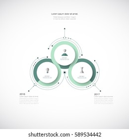 Vector Infographic 3D circle label design template with arrows sign and 3 options or steps. Infographics for business presentations or information banner, process diagram, flow chart, graph, scheme