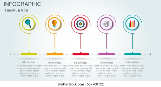 Vector Infographic 3D circle label design template with arrows sign and 5 options or steps. Infographics for business presentations or information banner, process diagram, flow chart, graph, scheme