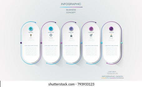 Vector Infographic 3d circle label, template design. Business concept, Infograph with number 5 options, step or processes. Infographic element for layout process diagram,parts,chart,graphic,info graph