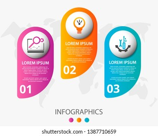 Vector infographic 3D template for three label, diagram, graph, presentation and circles. Business concept with 3 options. For content, flowchart, steps, parts, timeline, workflow, chart. EPS10