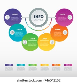 Vector infographic with 6 processes. Investor presentation with 6 steps. Best for diagram or business presentation with 6 options. Examples of infographics, how to make your business structured.