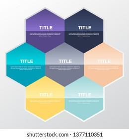 Vector infographic with 7 options. Geometrix hexagon shapes. Infographic design template.