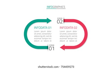 Vector infographic with arrow design template, Business concept with 2 options, steps, part,Process chart.