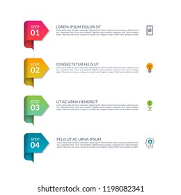 Vector infographic arrows. Set of 4 simple elements for business infographics, presentation, brochure, chart, report, diagram, timeline.