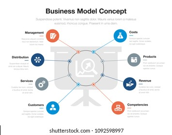 Vector info graphic business model visualization stock vector vector infographic for business model visualization template with presentation board and growing graph as main symbol flashek Gallery