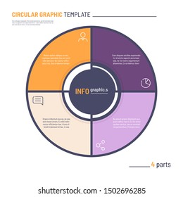 Vector infographic circle chart template. Four parts.