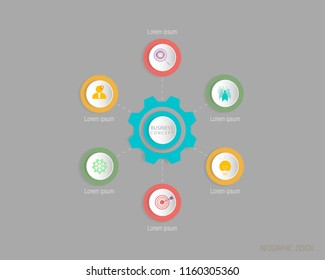 Vector Infographic circle label, template design. Business concept,  with number 6 step.Infographic element for layout process diagram.