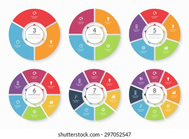 Vector infographic circle set. Templates for cycling diagram, graph, round chart, workflow layout, number options, web design. Business concept with 3, 4, 5, 6, 7, 8 steps, parts, options