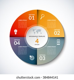 Vector infographic circle template with 4 steps, parts, options, sectors, stages. Can be used for graph, pie chart, workflow layout, cycling diagram, brochure, report, presentation, web design.