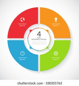 Vector infographic circle. Template for graph, cycling diagram, round chart, workflow layout, number options, web design. 4 steps, parts, options, stages business concept
