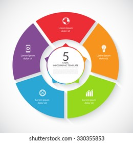 Vector infographic circle. Template for graph, cycling diagram, round chart, workflow layout, number options, web design. 5 steps, parts, options, stages business concept