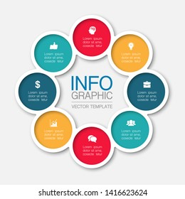 Vector infographic circular  diagram, template for business, presentations, web design, 8 options.