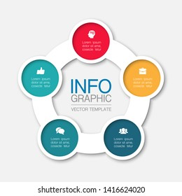 Vector infographic circular  diagram, template for business, presentations, web design, 5  options.