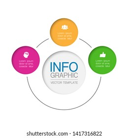 Vector infographic circular  diagram, template for business, presentations, web design, 3 options.