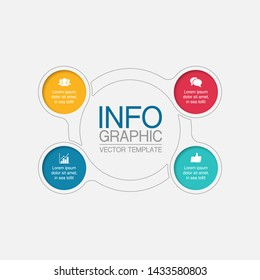 Vector infographic circular  diagram, template for business, presentations, web design, 4  options.