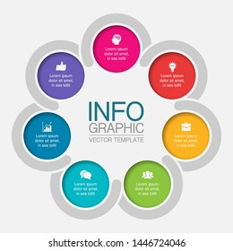 Vector infographic circular  diagram, template for business, presentations, web design, 7 options.