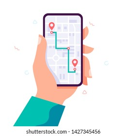 Vector Infographic of city map navigation. Navigation app with map and location pin. Mobile app Interface concept design. Vector trendy flat illustration.