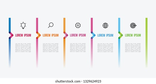 vector infographic color line design with icons and 5 options