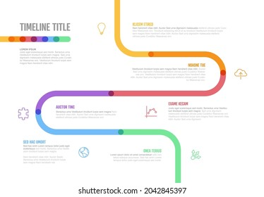 Vector Infographic Company Milestones curved Timeline Template. Light thick marker time line template version with icons. Thick Color Timeline with curves, icons and text content