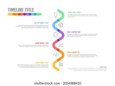 Vector Infographic Company Milestones curved vertical Timeline Template. Light thick marker time line template version with icons. Thick Color Timeline with curves, icons and text content