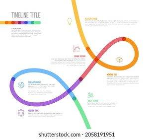 Vector Infographic Company Milestones curved Timeline with twirl Template. Light thick marker twist time line template version with icons. Thick Color kink Timeline with curves, icons and text content