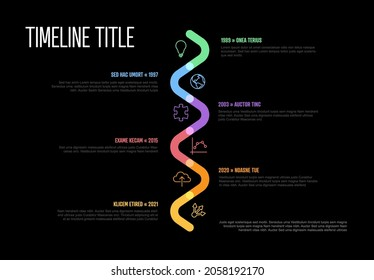 Vector Infographic Company Milestones curved vertical Timeline Template. Vivid thick marker time line template version with icons on black background. Thick Color Timeline with curves, icons and text