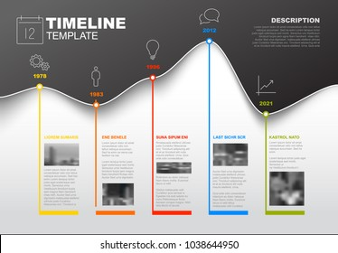 Vector Infographic Company Milestones Timeline Template with graph curve