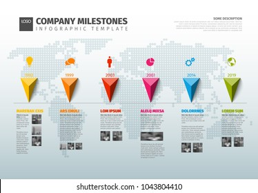 Vector Infographic Company Milestones Timeline Template with pointers on a line and world map in the background