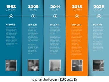 Vector Infographic Company Milestones Timeline Template with photo placeholders on blue and orange stripes