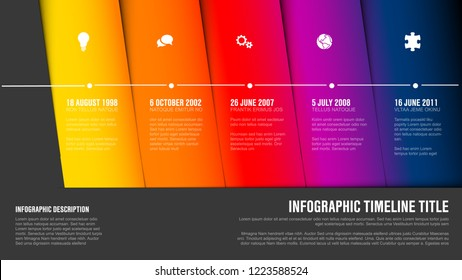 Vector Infographic Company Milestones Timeline Template with hot  diagonal stripes