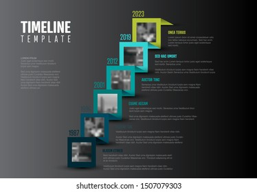 Vector Infographic Company Milestones Timeline Template with photos on a straight diagonal colorful ribbon time line and light background