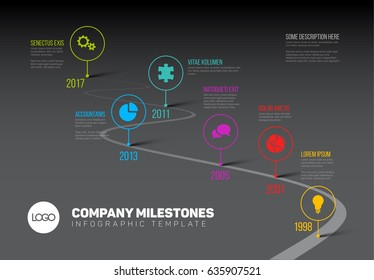 Vector Infographic Company Milestones Timeline Template with pointers on a curved road line - dark version