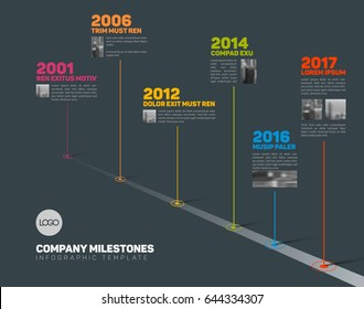 Vector Infographic Company Milestones Timeline Template with pointers and photos on a straight road line - dark version