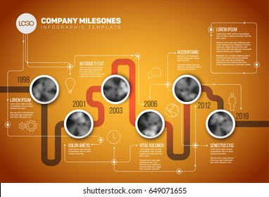 Vector Infographic Company Milestones Timeline Template with circle photo placeholders on a line - orange version
