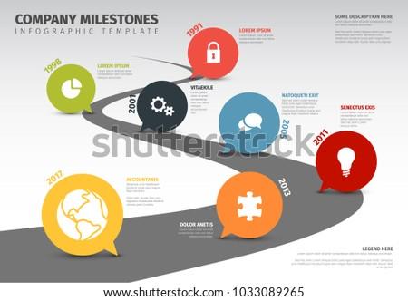 vector infographic company milestones timeline templateのベクター