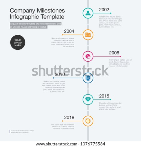 vector infographic company milestones timeline template stock vector