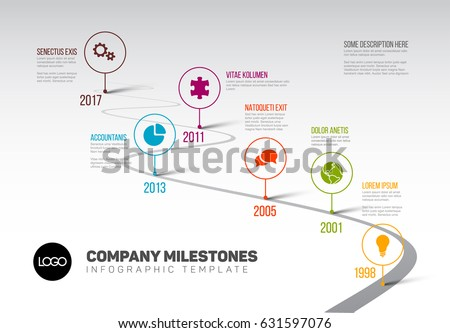 vector infographic company milestones timeline template のベクター