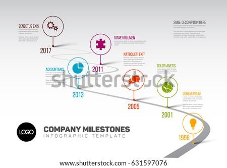 Timeline Templates | Vector Infographic Company Milestones Timeline Template Stock