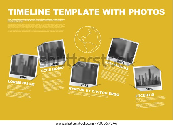 Векторная инфографика компании вехи Хронология Шаблон с фото заполнители в виде снимков