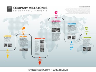 Vector Infographic Company  Timeline Template with pointers on a curved line