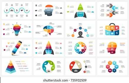 Vector infographic, cycle diagram, business graph, presentation chart. Options, part, step, process. Human head puzzle brain, light bulb, briefcase, timeline, startup rocket, pyramid infographics set.