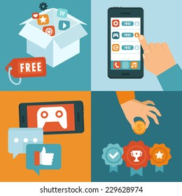 Vector infographic depicting freemium business model - free of charge and free to play apps and games - paying for extra features and services - conceptual illustration in flat style